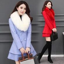 b 2019 Autumn Winter Long Wool Coat Women Ruffles Wool Blend Coat and Jacket Removable Fur Collar Wool Women Coat Outwear недорого