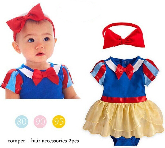 Baby girl Snow White Princess   rompers   baby girls clothes baby clothing summer newborn infant bow knot costume for 3-18 Months