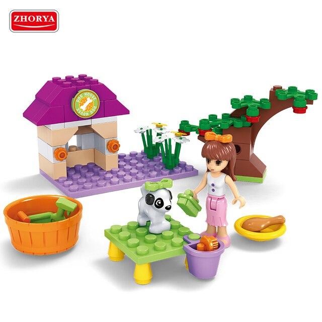 Toy 76 piezas de moda de chicas bloques de construcción para mascotas perro baño ilumine ladrillos DIY cifras Legoing educativos juguetes para niños de regalo