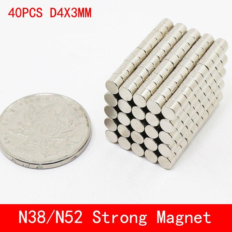 40 pçs/lote Super Forte Terras Raras mini 4mm x 3mm Ímã Permanet Rodada N38 Ímã De Neodímio N52 4*3 MM de superfície da placa de níquel