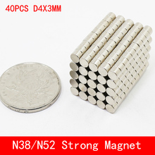 40pcs/lot Super Strong Rare Earth mini 4mm x 3mm Permanet Magnet Round Neodymium N52 N38 4*3MM surface plate nickel