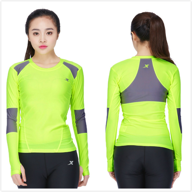 Xtep Women Fitness Gym Workout Sports Long Sleeves Running T-shirts Tights Skins  Compression Base 70c002dc5
