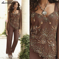 Sequin Beaded Mother Of The Bride Pant Suits With Jackets Classy Wedding Guest Dress Plus Size Mothers Groom Dresses Custom Made