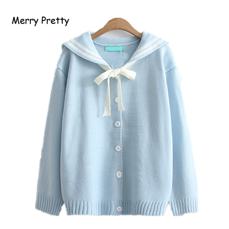 Merry Pretty Autumn New Women Cardigans Loose Outwear Winter Preppy Style Knitwear Cute Kawaii Red Bow Tie White Sweaters Girls