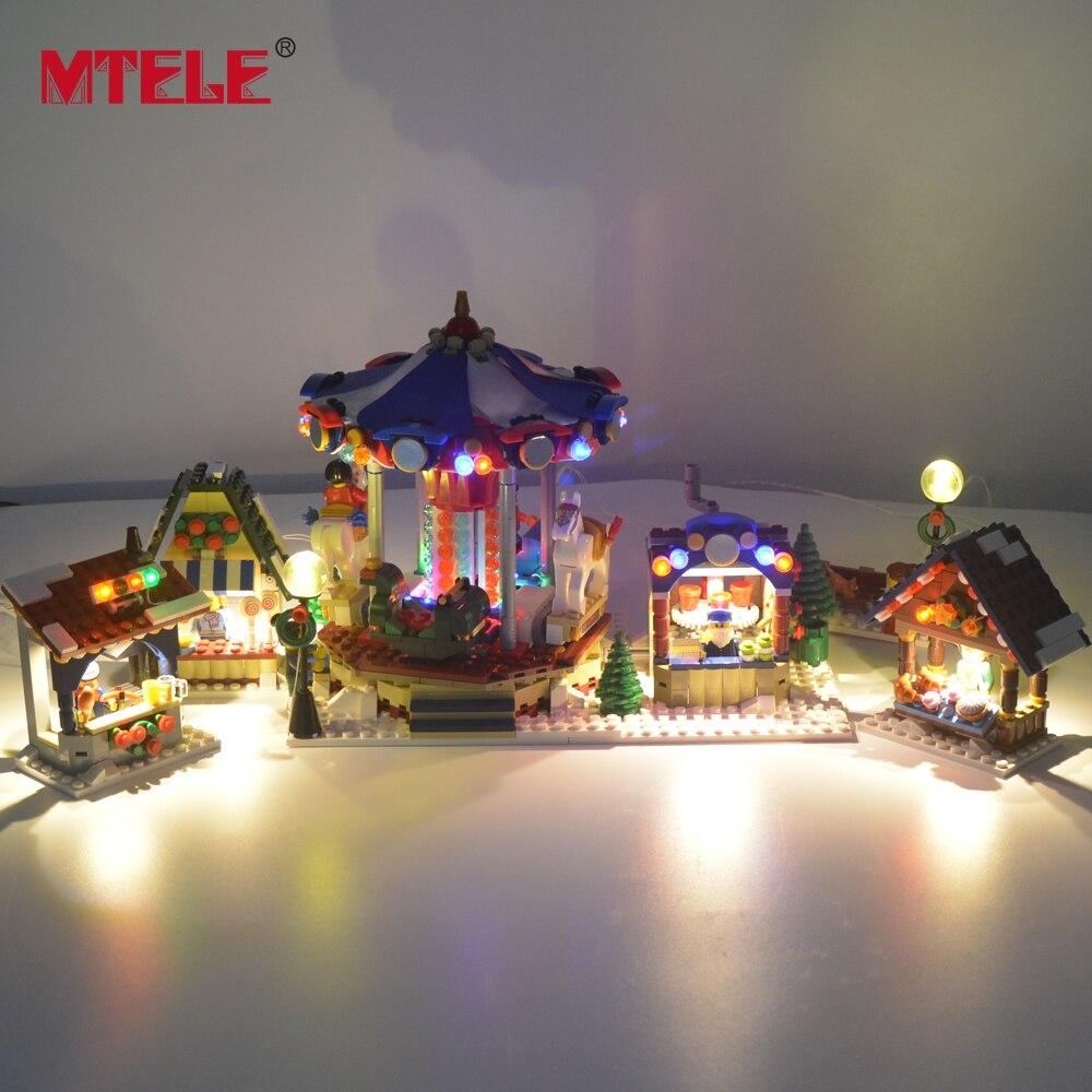 MTELE Flash Led Lumière Pour Noël Série Village D'hiver Marché Blocs De Construction Jouet Compatible Avec Lego10235