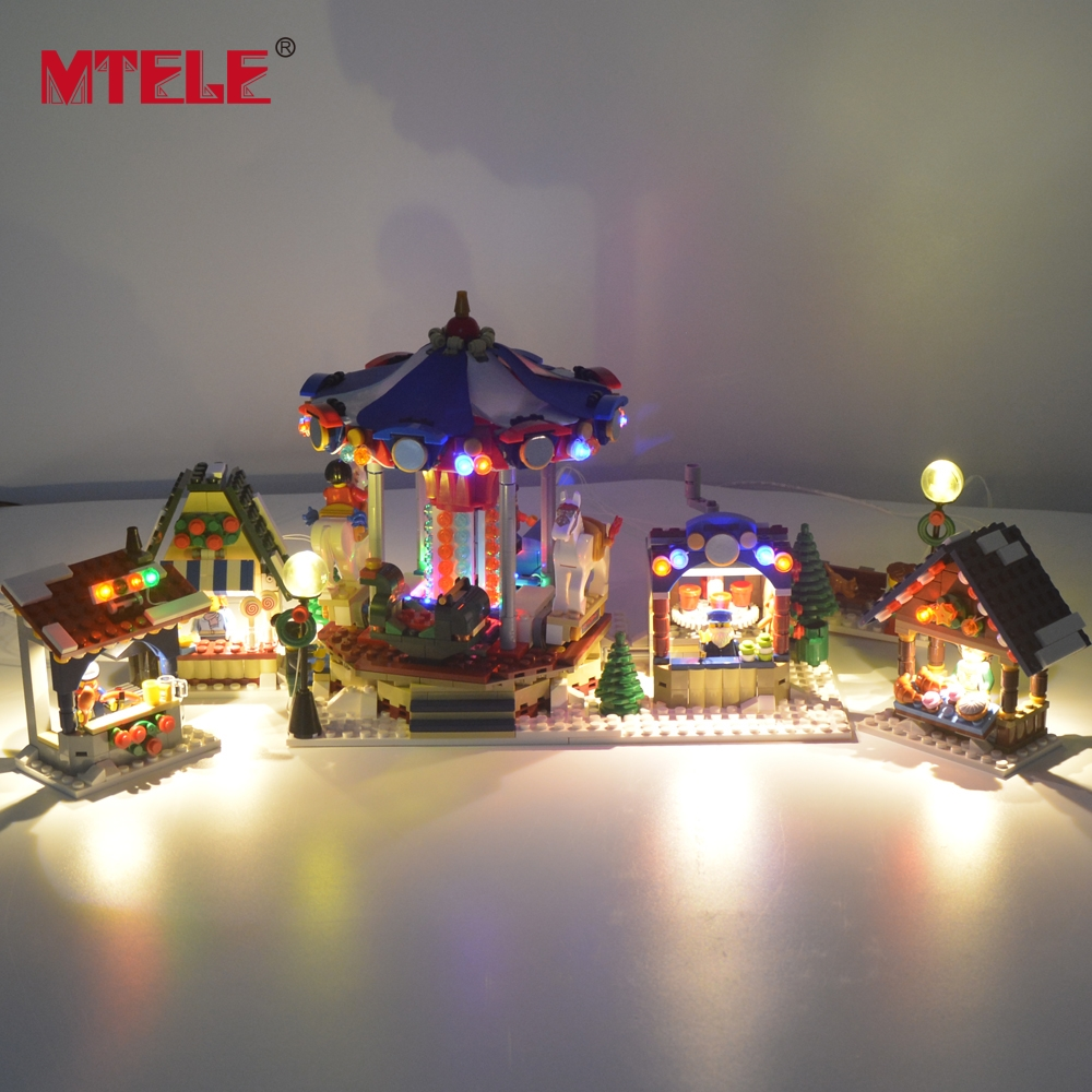MTELE Led Flash Light Set For Christmas Series Winter Village Market Building Blocks Toy Compatible With Model 10235-in Blocks from Toys & Hobbies