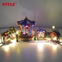 Mtele led flash luz conjunto para a série de natal inverno aldeia mercado blocos de construção brinquedo compatível com o modelo 10235