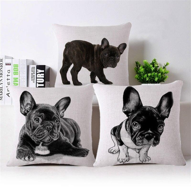 ᐅ45*45 cm sexemara Lovely bulldog francés patrón algodón Lino ...