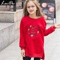 LouisDog Девушки Вышитые Флис Футболка Дети Свободная Посадка Пуловер Кофты 2016 Новый Svitshot Подростков Осень Зимняя Одежда