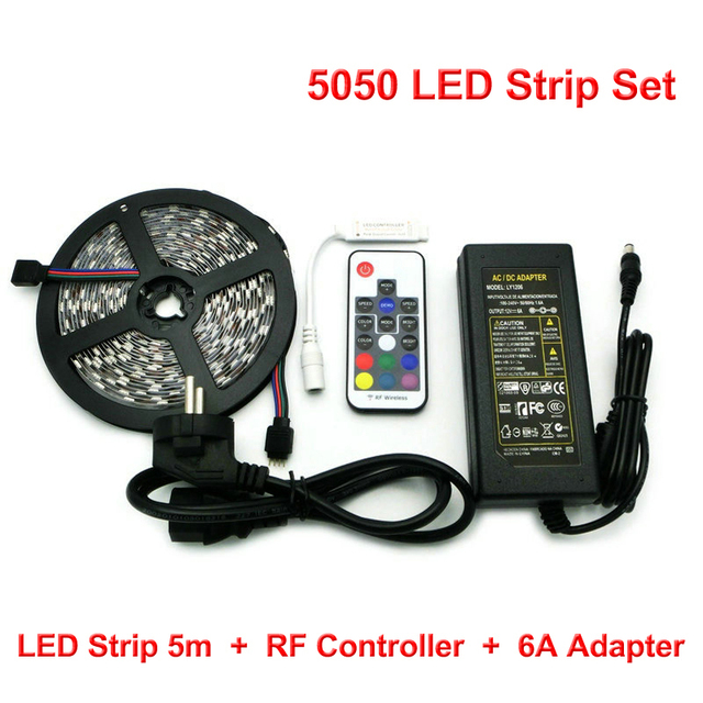 Amazing L11 DC12V 5050 RGB LED Strips Set, 5m 300 LEDs Flexible Light + RF  Controller Pictures
