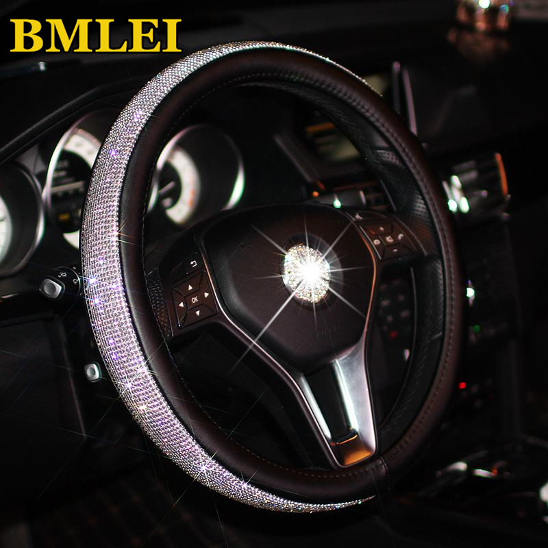 Bling Bling Rhinestones Crystal Car Steering Wheel Cover  PU Leather Steering-wheel covers Auto Accessories Case Car Styling(China)
