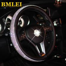 Bling Bling Rhinestones Crystal Car Steering Wheel Cover  PU Leather Steering wheel covers Auto Accessories Case Car Styling