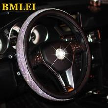 Bling Bling Rhinestones kryształowa osłona na kierownicę do samochodu PU skórzane pokrowce na kierownicę Auto futerał na akcesoria Car Styling
