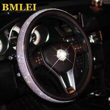 Bling Bling strass coprivolante per Auto in cristallo coprivolante in pelle PU accessori Auto custodia Car Styling