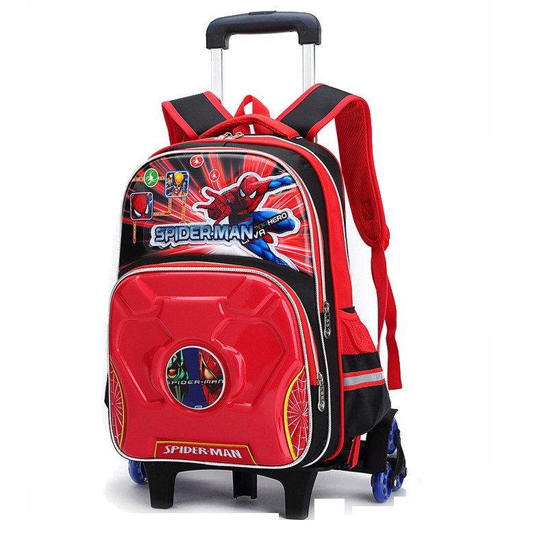 ФОТО 3D Spider Cartoon Trolley School Bags With 6 Wheels For Boys Waterproof Nylon School Backpack With Wheeled Bags