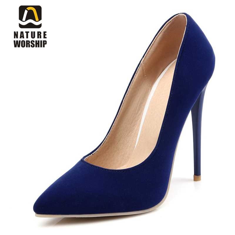 High thin <font><b>heels</b></font> 12cm 10cm Nubuck Leather women shoes fashion pointed toe pumps Mature sexy Party shoes Elegant Concise pumps image