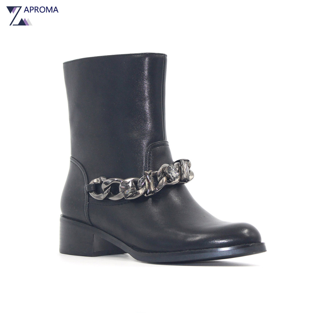 PU Crystal Square Heel Women Boots Black Handmade Chain Ankle Boot Med Heel Fleeces Gothic Shoes
