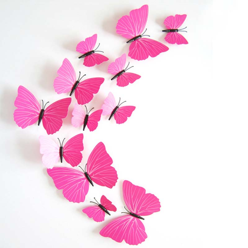 12pcs 3d Red Butterfly Silver Flower DecorationArt Decal PVC Wall Fridge Sticker