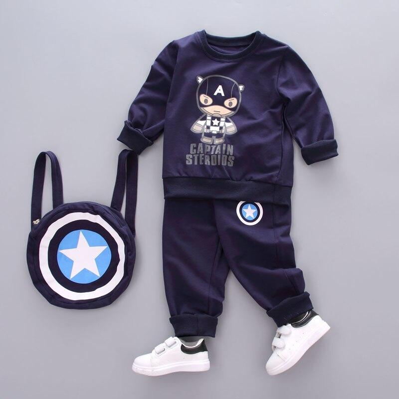 Autumn Baby Boys Clothing Set Toddler Children Sport suit 3Pcs Captain America Tracksuit kids boys girls Spring clothes Costumes