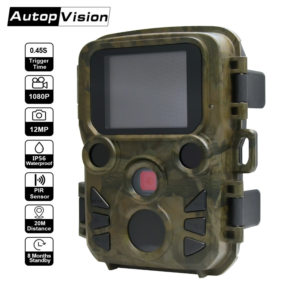 Mini Hunting Camera H501 12MP 1080P Wildlife Trail Photo Trap Camera 0.45S Fast Trigger Waterproof Night Vision Video Recorder