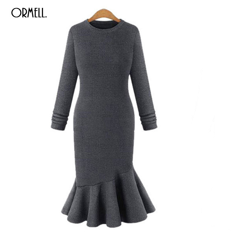 ORMELL Midi Knee Casual Women Knitted Dress 2018 Spring Elegant Fashion Female Long Sleeves Sweater Dresses Vintage Vestidos