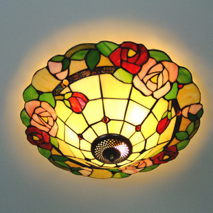 16 Inch Flesh Country Flowers rose Tiffany pendant light  Stained Glass Lamp for Bedroom E27 110-240V16 Inch Flesh Country Flowers rose Tiffany pendant light  Stained Glass Lamp for Bedroom E27 110-240V