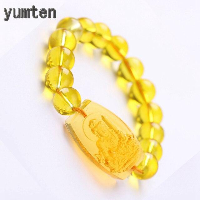 Yumten cytryn budda bransoletka zroszony łańcuch bransoletka religijne kobiety ręcznie łańcuch przezroczysty kryształ koralik buddyzm geometryczne