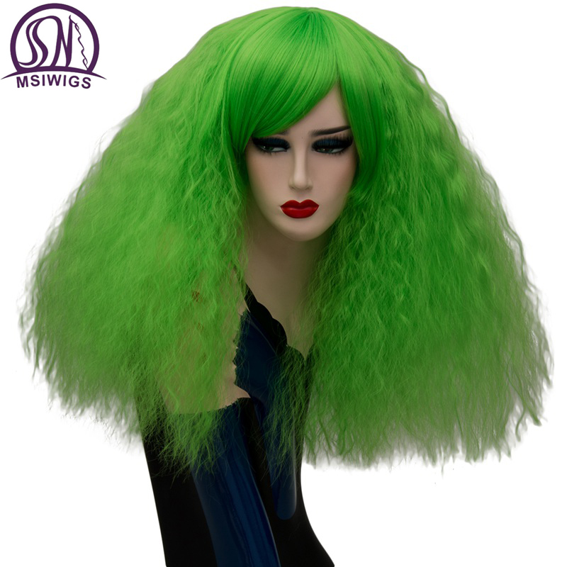 MSIWIGS 17 Colors Cosplay Wigs Blonde Synthetic Wigs Pink Red Green Medium Long Hair Afro Green Wig For Women