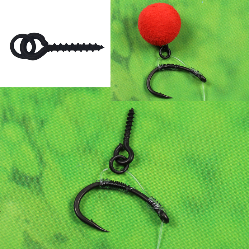 10pcs Terminal Tackle Bait Holder Carp Fishing Accessories Boilie Screw Peg with Ring Swivel Chod Rig image