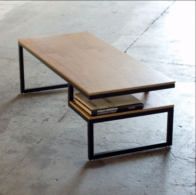 table adjustable metal base steel top index coffee and wood