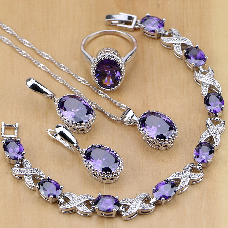 Natural 925 Silver Jewelry Purple Cubic Zirconia White Crystal Jewelry Sets For Women Earrings/Pendant/Necklace/Rings/Bracelet(China)
