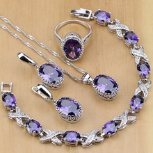 925 Sterling Silver Purple Cubic Zirconia Jewelry Set