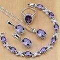 Natural 925 joyería de plata púrpura Cubic Zirconia blanco conjunto de joyas de cristal para mujer pendientes/colgante/Collar/anillos/pulsera