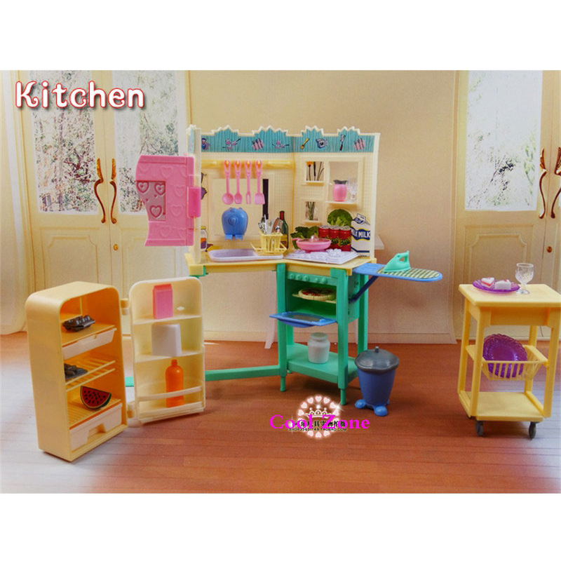 buy new arrival miniature elegant kitchen furniture for barbie doll house classic toys for girl free shipping from reliable furniture