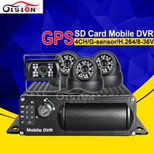 Free Shipping Gision 4CH GPS SD Mobile Dvr ,G-sensor  I/O Cycle Recording Car Dvr Kit  With 4 Night Vision IR Camera