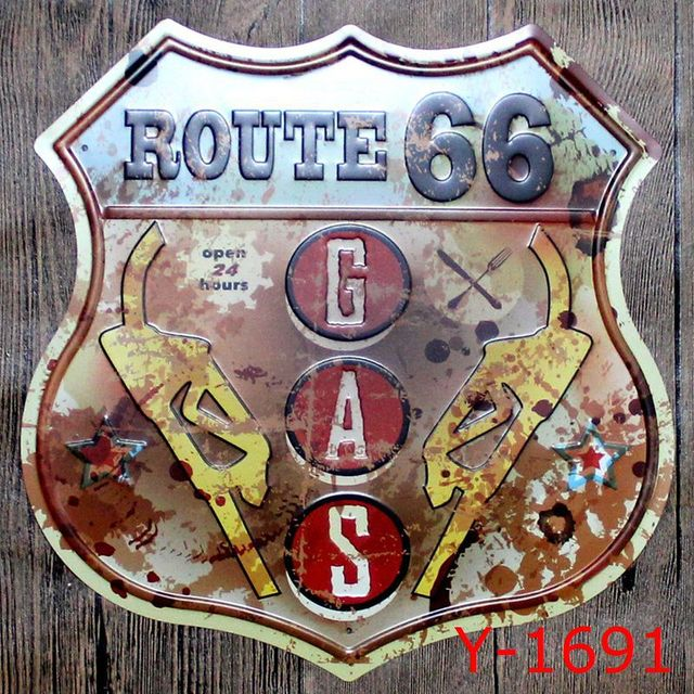 35x35CM Route 66 Gas Station Vintage Home Decor Tin Sign For Wall Decor  Metal Sign Vintage