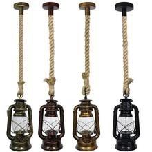 Industrial Pendant Lamp Vintage Kerosene Lights With Free Bulb E27 Hemp Rope Hanging for Home/Bedroom/Living Room