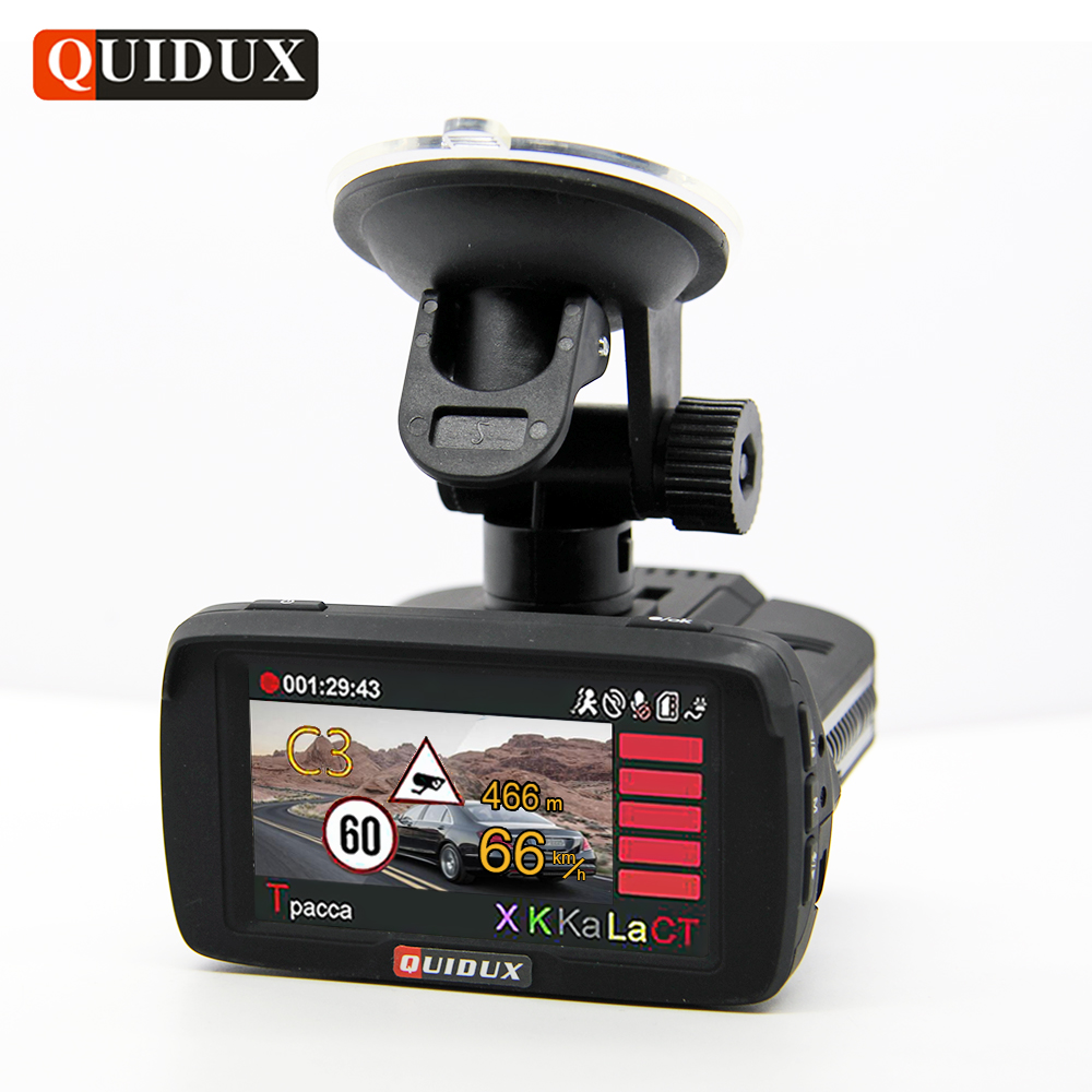 QUIDUX Ambarella A7 Car DVR Radar Detector GPS 3 in 1 HD 1080P Video Camera Recorder Dashcam Speedcam logger Russian Language gps навигатор lexand sa5 hd