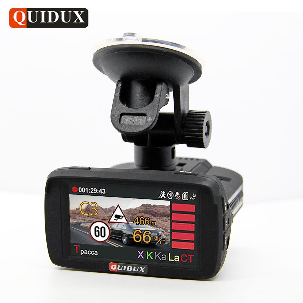 QUIDUX Ambarella A7 Voiture DVR Détecteur de Radar GPS 3 dans 1 HD 1080 P Caméra Vidéo Enregistreur Dashcam Speedcam logger Russe langue