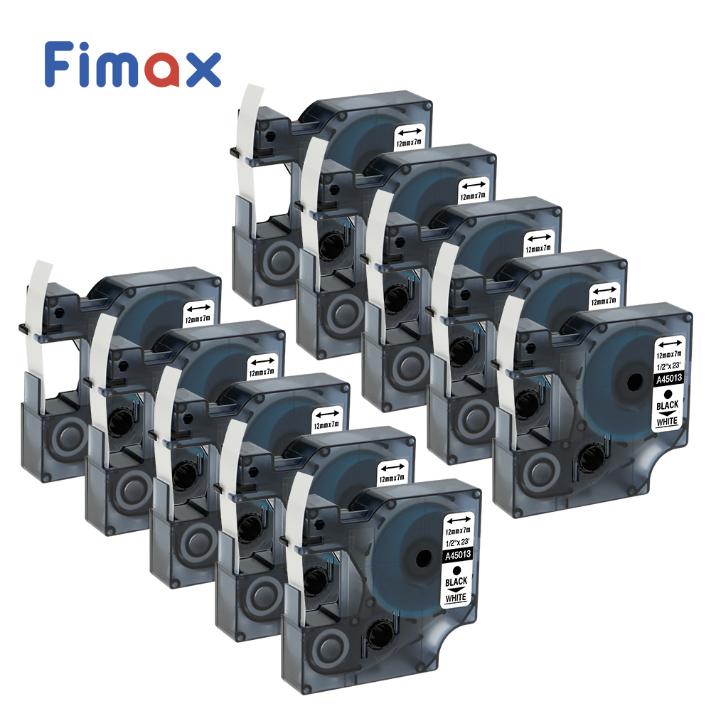 Fimax 10 pcs for Dymo D1 Label Printer Ribbon dymo 45013 12mm DYMO D1 Label Tape