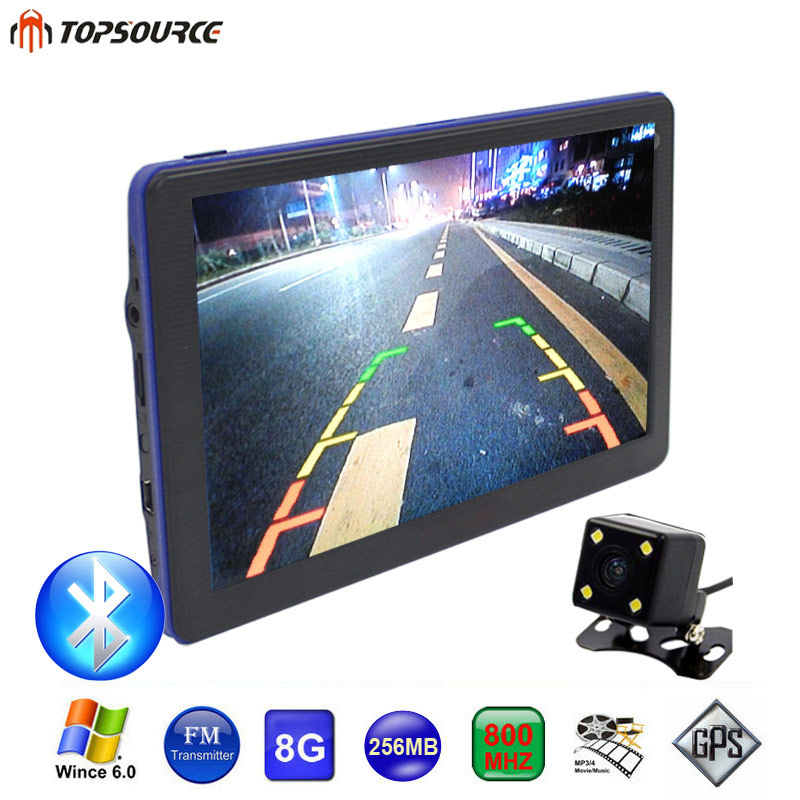 TOPSOURCE 7 Inch Car GPS Navigation Rearview Camera WinCE 6.0 Bluetooth Europe/USA/Spain/Canada/Russia Map Free Upgrade Sat nav topsource 7 inch car gps navigation android 8gb avin automobile navigator europe usa russia spain navitel map truck gps sat nav