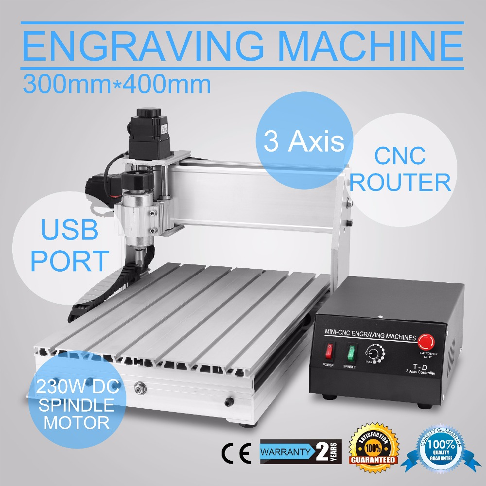 CNC Router Engraving Machine CNC Engraver Cutting Machine 3040T 3th Axis Carving Tools Artwork Milling Woodworking (30x40cm 3040