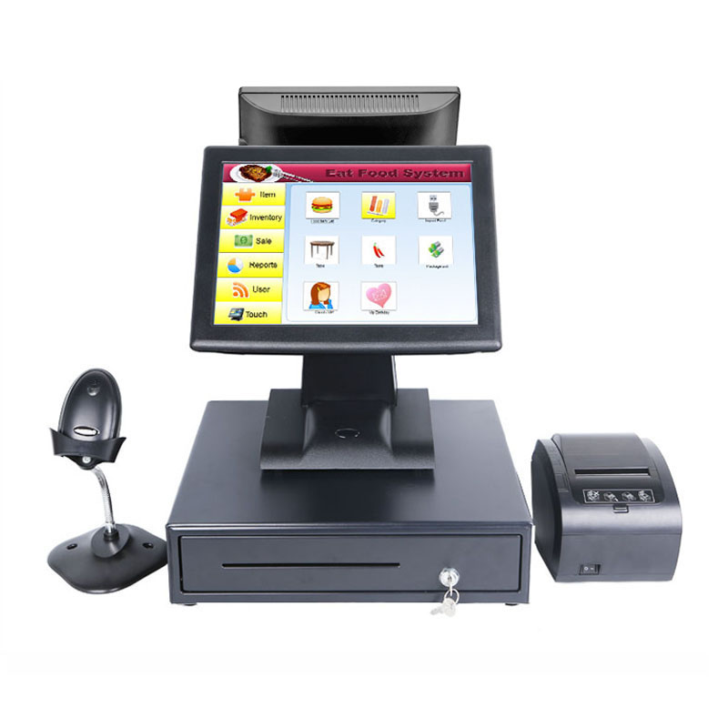point of sale shop cash register pos all in one <font><b>cashier</b></font> <font><b>machine</b></font> with cash drawer 80 receipt printer barcode scanner high quality image