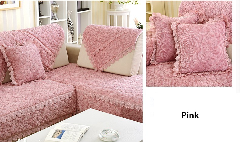 Thick Slip Resistant Couch Cover for Corner Sofa Made with Plush Fabric Including Lace for Living Room Decor 17