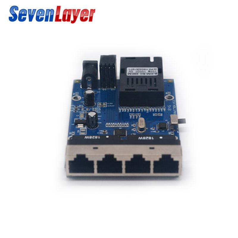 10/100m 4 Rj45 1 Sc Fast Ethernet Switch Converter Ethernet Fiber Optical Media Converter Single Mode Fiber Port Pcba 20km Fragrant In Flavor