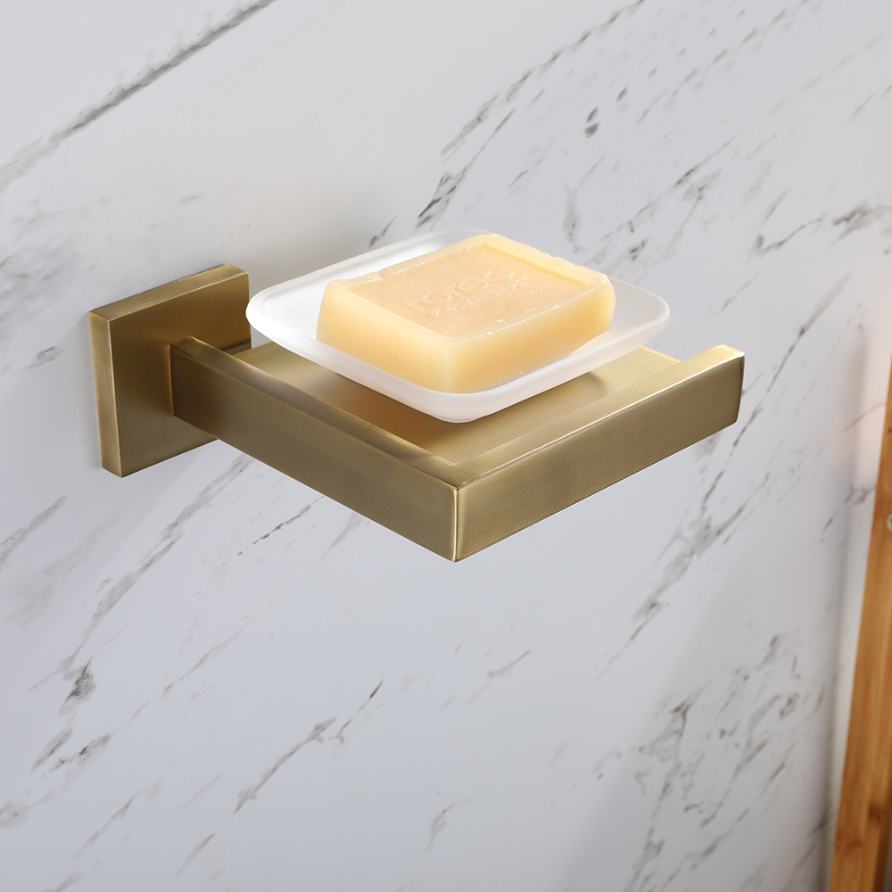 Brushed Gold Gilded 304 Stainless Steel Brushed Wall-Mounted Soap Dish Soap Box Bathroom Products Soap Holder Soap Dish Ceramic