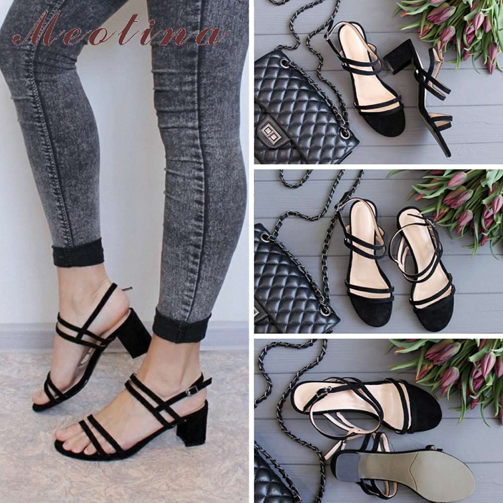 Meotina Sandals Female Shoes Buckle Square Open-Toe High-Heels Pink Yellow Plus-Size