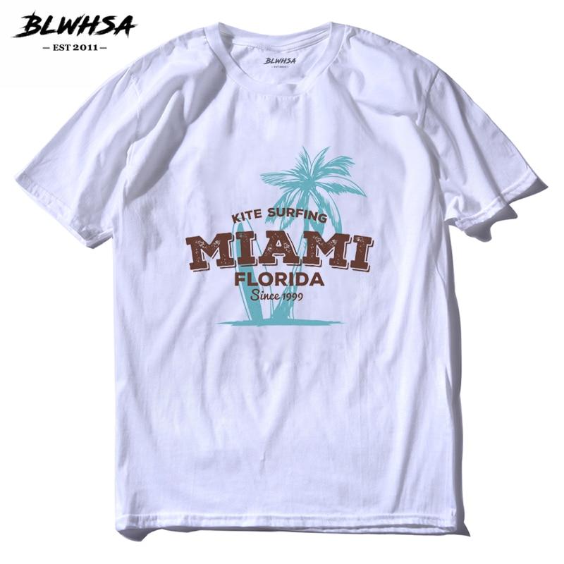 BLWHSA Miami Florida Estate Uomo T Shirt Moda Aquilone Plam Albero Top Tees  Style O Collo Manica Corta T Shirt in BLWHSA Miami Florida Estate Uomo T- Shirt ... 5f9ef6290d9a