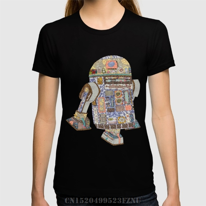 Spring Favourite t shirts girl R2D2 Crashed Into A Flower Shop Short Print Knitted funny tees homme Clothing