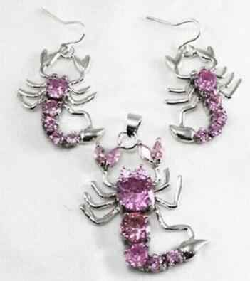 Sỉ phong cách Đối với phụ nữ 's, áo cưới 18KGP 4 màu-Pink/Red/màu xanh/đen Zirconia 18KGP Scorpion dangle earring mặt dây chuyền thiết